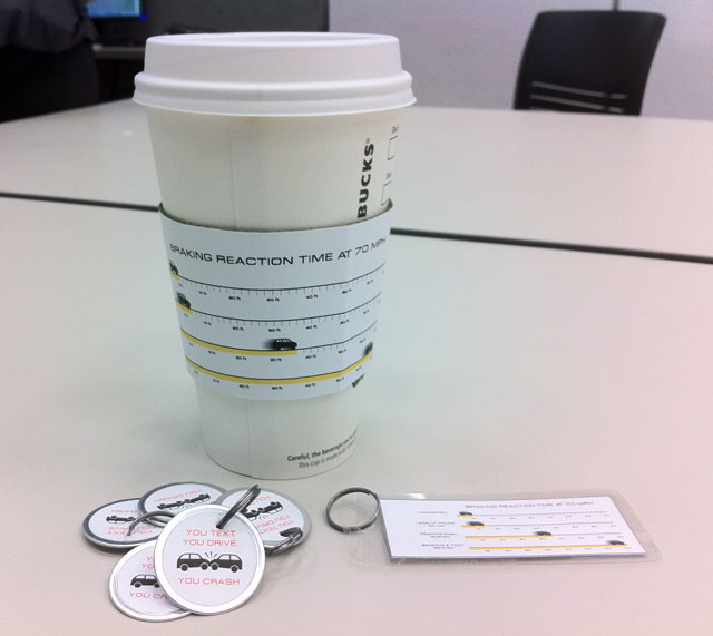 Texting While Driving Infographics Cup Sleeve & Keychains